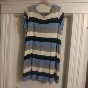 Fleur Bleue XL Blue/Black T-Shirt Dress